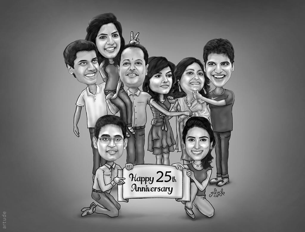 family caricature for wedding anniversary gift