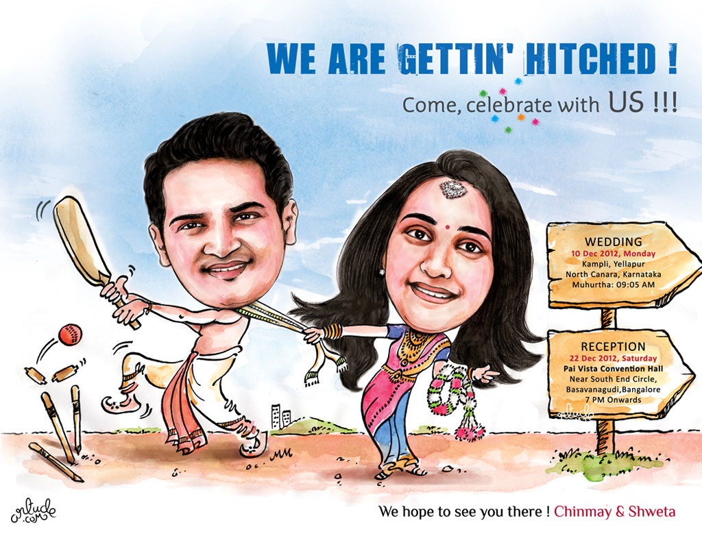 Cricket Theme Wedding Invite With Caricature