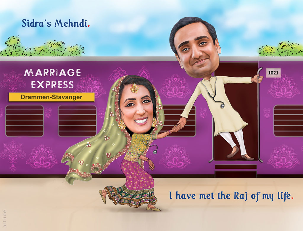 Ddlj Theme Personalized Wedding Invite With Caricature