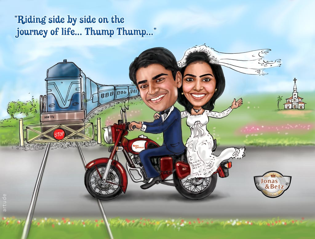 Bullet Theme Wedding Invite With Caricature
