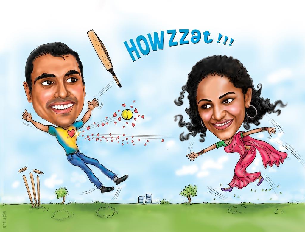 Cricket Theme Wedding Invite With Caricature